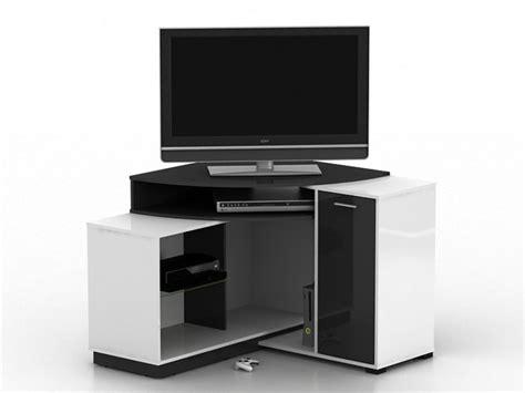 meuble tv d 39 angle amael avec rangements blanc ou chêne