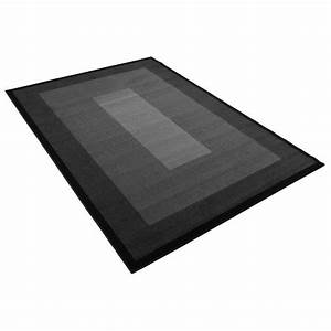 tapis salon moderne noir carre universol achat vente With tapis carré design