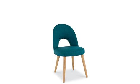 stockholm oak upholstered dining chair teal fabric