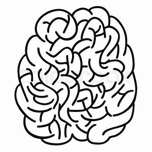 Isolated Doodle Human Brain Outline Design On White