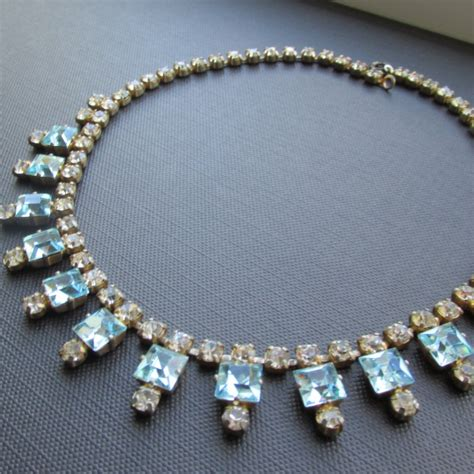 Aquamarine Art Deco Style Vintage Crystal Necklace  Uk. Kid Charm Necklace. Anklets For Sale. Opalite Pendant. Felt Bracelet. Pink Wedding Rings. Locket Bracelet. Expensive Gold Jewellery. Types Pearls