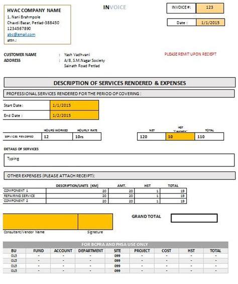 hvac invoice templates images  pinterest
