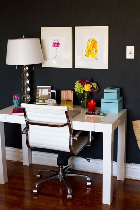 black home office desk how to style a west elm parsons desk white lacquer
