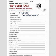 Be Verb Past  English  Simple Past Tense, Past Tense, Grammar Worksheets