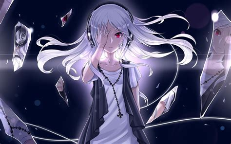 anime red eyes white hair original characters