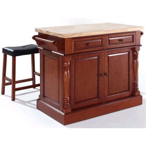cherry butcher block island crosley oxford butcher block top kitchen island with stools in cherry kf300064ch