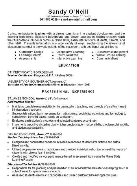 resume exles for high teachers sle teacher resume