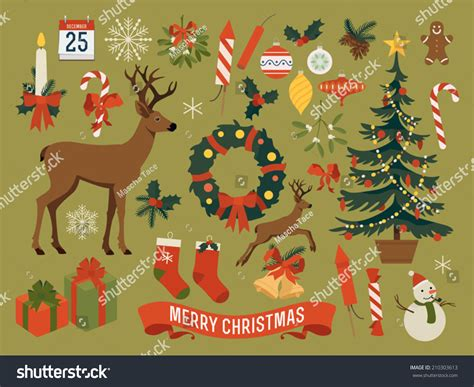 vector collection christmas items elements decorations