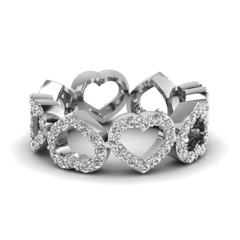 heart shaped wedding band with white diamond in 14k rose