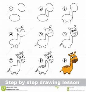 Drawing Tutorial. How To Draw A Giraffe Stock Vector ...