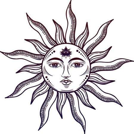 Beautiful elegant sun face symbol Tattoo design.Vector ...