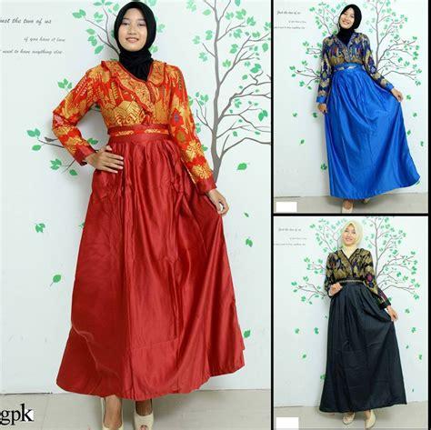 model baju gamis batik kombinasi modern  trendy