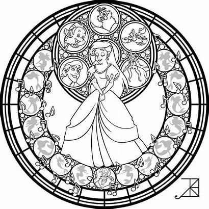 Coloring Stained Glass Disney Ariel Line Deviantart