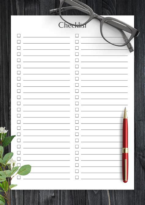 Download Printable Blank Checklist Template PDF