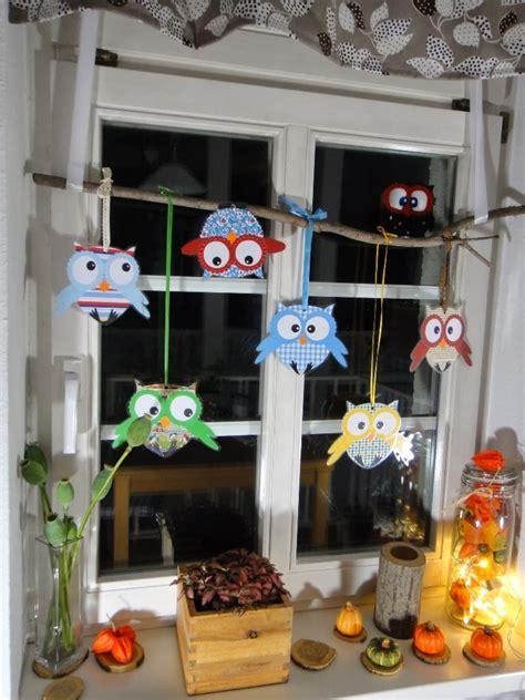fensterdeko basteln mit kindern ines felix kreatives zum nachmachen eulenfenster herbstdekoration