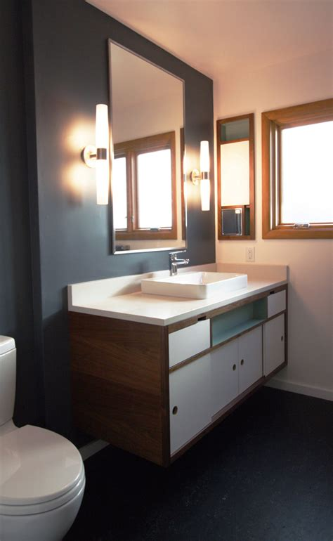 mid century modern bathroom lighting rebuild on white kitchens cabinets and subway