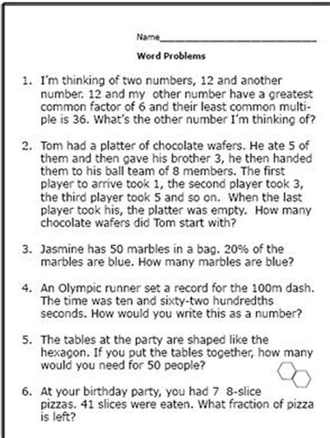 realistic math problems help 6th graders solve real life