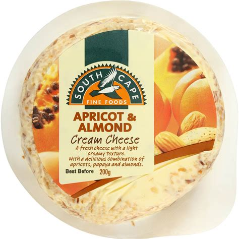 almond cheese south cape apricot almond cream cheese 200g woolworths