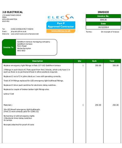 electrical invoice template   word  format