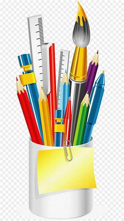 Supplies Clipart Cartoon Clip Office Pen Pencil