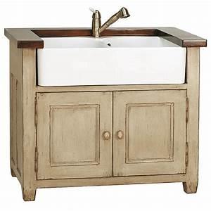 Meuble Cuisine Campagne : meuble evier 2 bacs brocante meubles de cuisine style campagne ~ Teatrodelosmanantiales.com Idées de Décoration