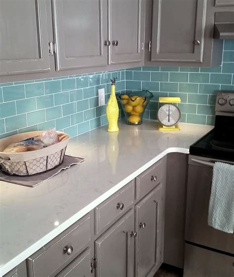 Kitchen Backsplash And Subway Tile by Green Glass Subway Tile In 2019 Kitchen Subway