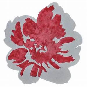 Tapis haut de gamme rouge en forme de fleur par angelo for Tapis champ de fleurs avec marque italienne canape luxe