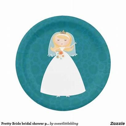 Plates Bridal Shower Paper Bride Pretty Zazzle