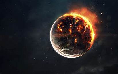 Planet Explosion Fire Space Galaxy Apocalypse Stars