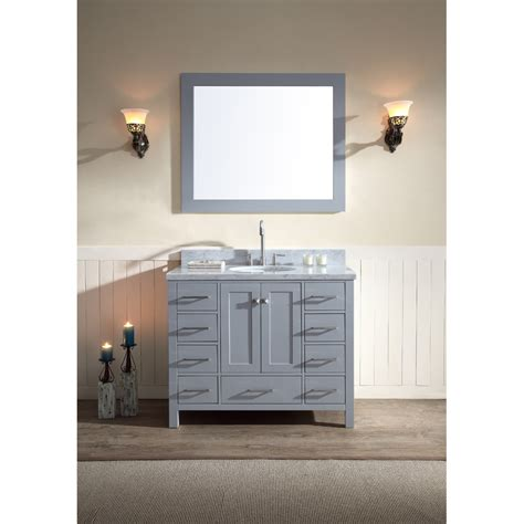 ariel cambridge  single sink vanity set  carrera white marble countertop grey