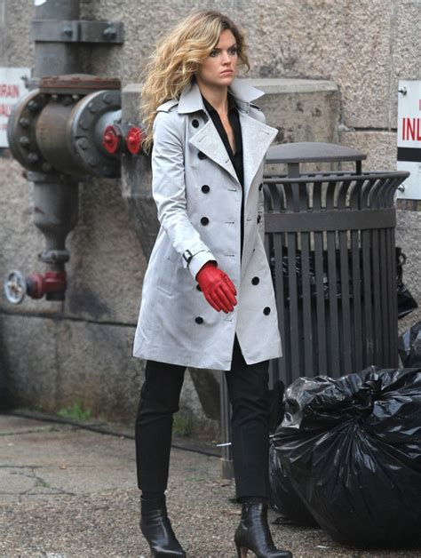 stylish american actress camren bicondova gotham white coat