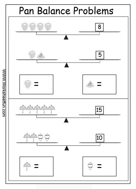 pan balance problems worksheets printable