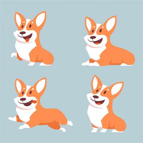 Conjunto de cães corgi em poses diferentes ilustração do