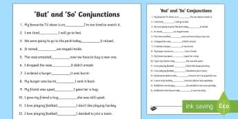 but and so conjunctions activity sheet conjunctions