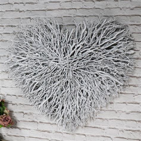 Large White Washed Twig Heart Wall Art