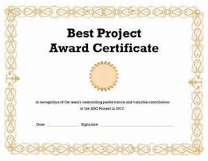 Best Project Award Certificate Template Pdf
