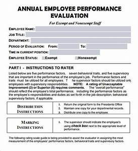 employee evaluation form 17 download free documents in pdf With yearly employee review template