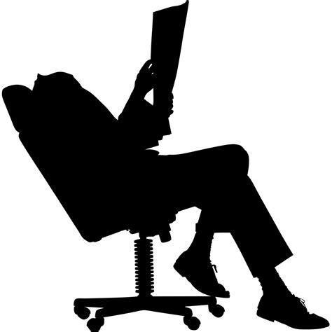 ordianteur de bureau sticker silhouette sur une chaise de bureau mini