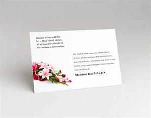 carte remerciement deces faire part de deuil With chambre bébé design avec remerciement deces fleurs