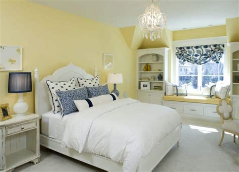 Bedroom With Yellow Walls And Window Bench  Decorating A