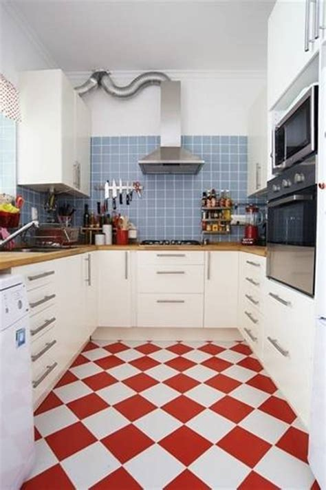 Redwhitekitchenfloortiles  Film And Furniture