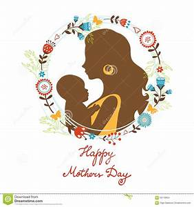 Beautiful Mother With Her Baby Silhouettes With Stock ...