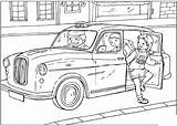Coloring Taxi British United sketch template