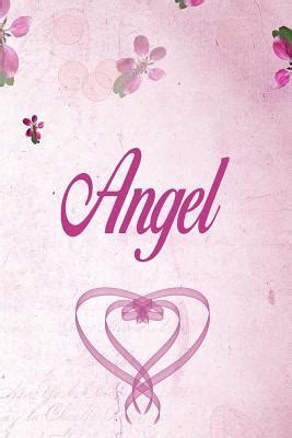 angel personalized  notebookjournal gift  women girls  pages pink floral design
