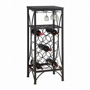 shop monarch specialties 15 bottle black freestanding With kitchen cabinets lowes with candle holder for wine bottle