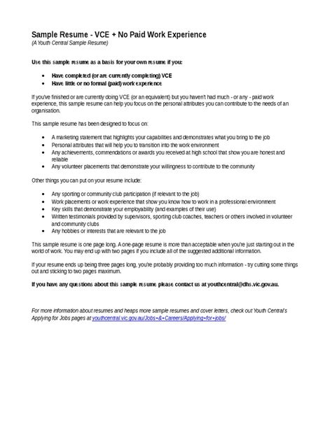 youthcentral resume vce no work exp jan2015 rtf r 233 sum 233