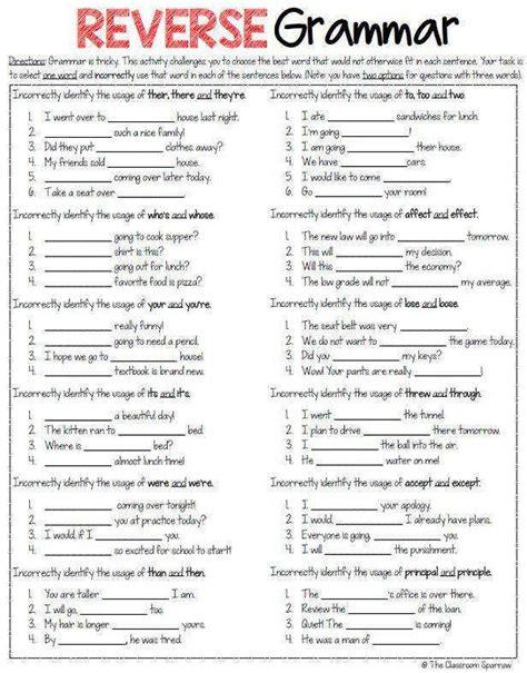printable worksheets 187 free grammar worksheets middle