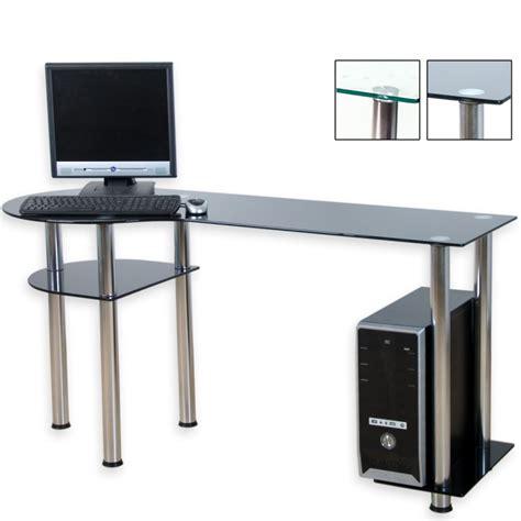 bureau d ordinateur en verre noir 145 x 60 x 72 cm