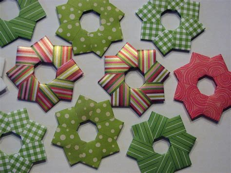 origami wreath tree ornaments 3 set of 6