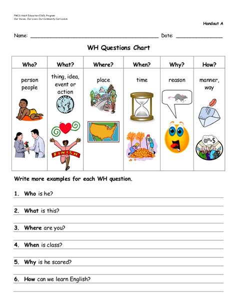 b introduction to wh questions handouts a n